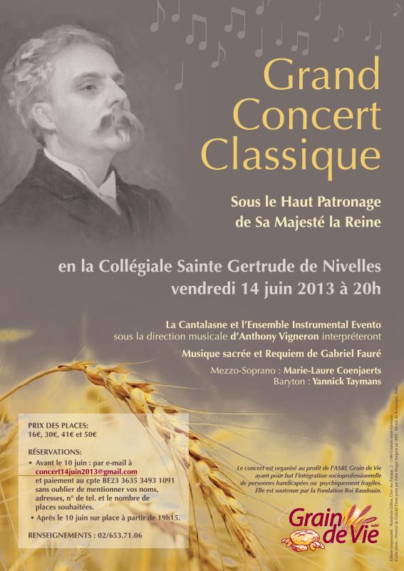 Concert Musique sacrée et Requiem de Gabriel Fauré à la Collégiale de Nivelles, 14 juin 2013