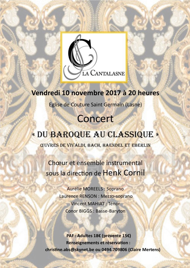 Concert Vivaldi, Bach, Haendel, Eberlin, novembre 2017